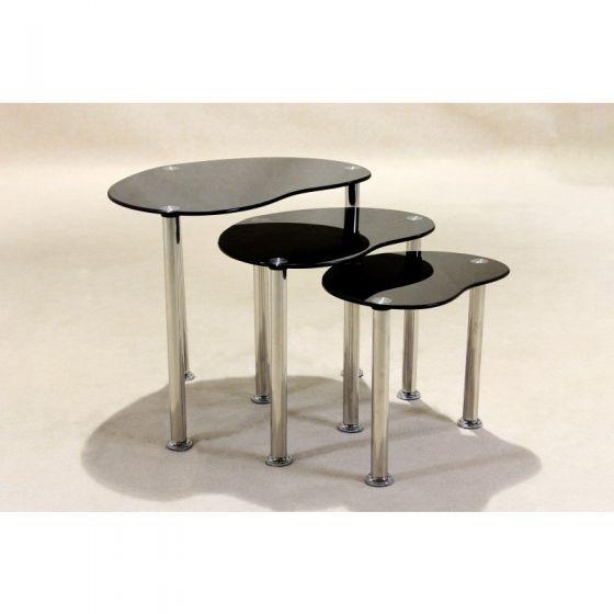 Vista Curved Glass Black Glass Nest of Tables