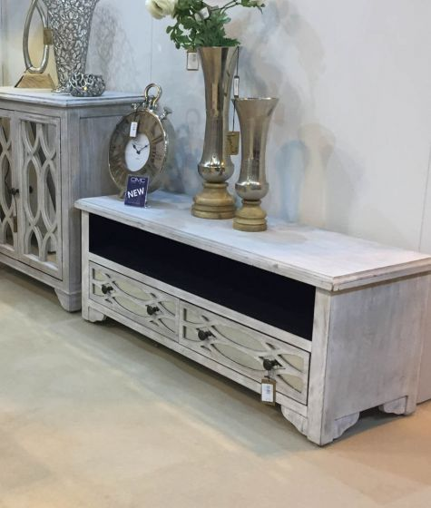 Washed Ash 2 Drawer TV Unit with Glass