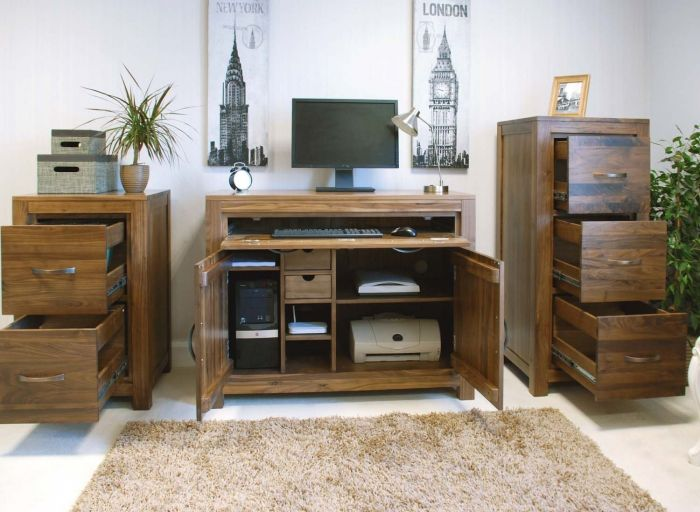 Walnut Hidden Home Office
