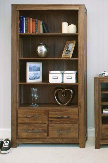 Walnut Large 4 Drawer Bookcase