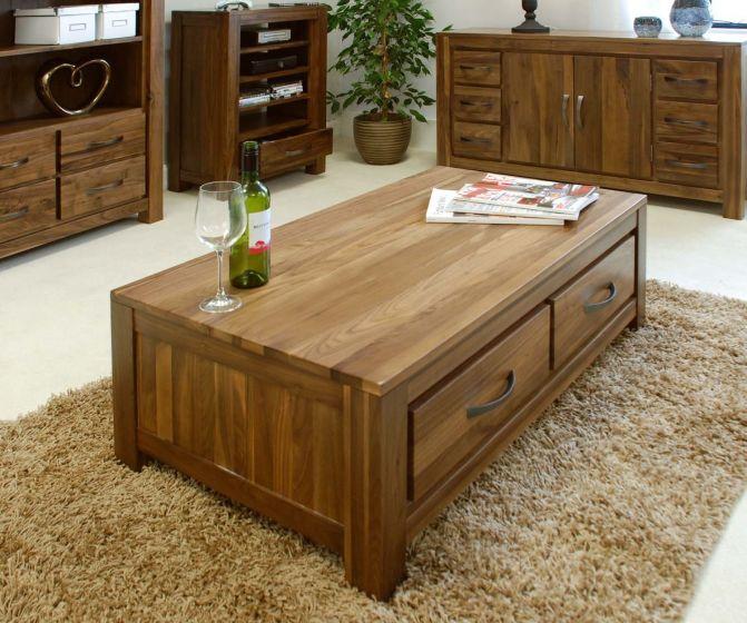 Walnut Low Four Drawer Coffee Table