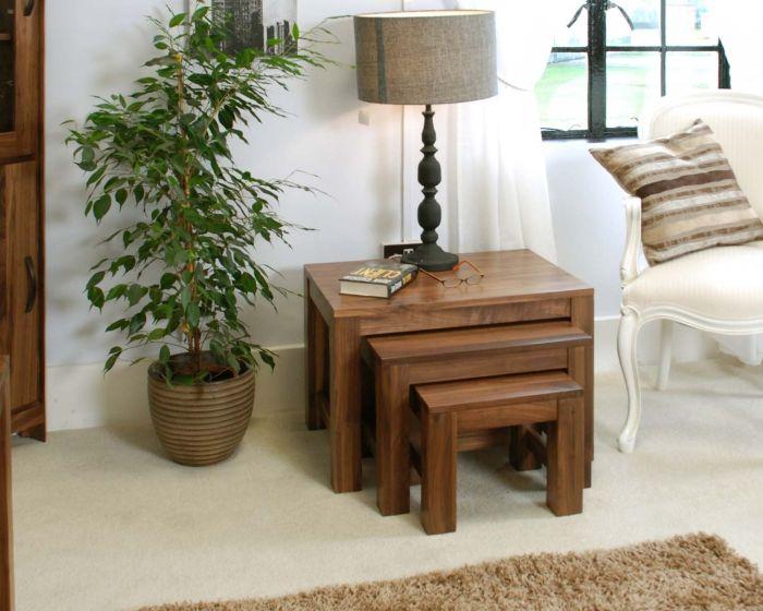 Walnut Nest of 3 Coffee Tables