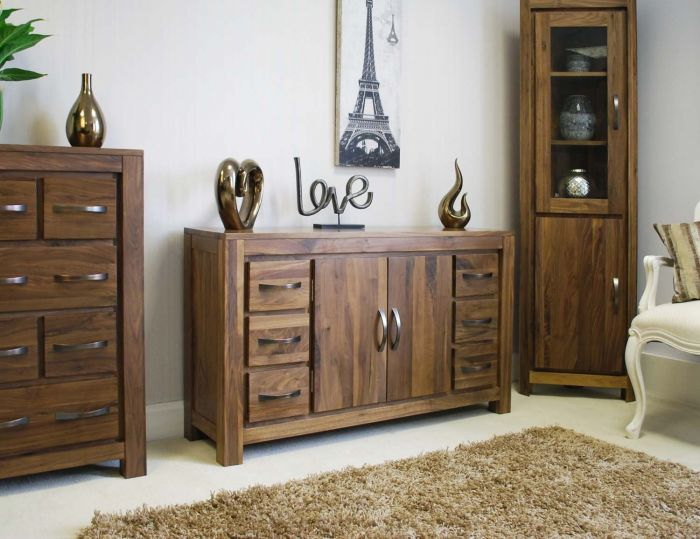 Walnut Six Drawer Sideboard