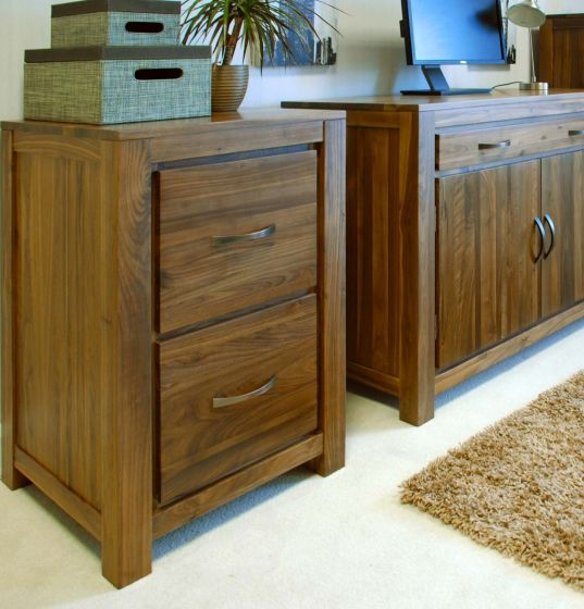 Walnut Two Drawer Filing Cabinet