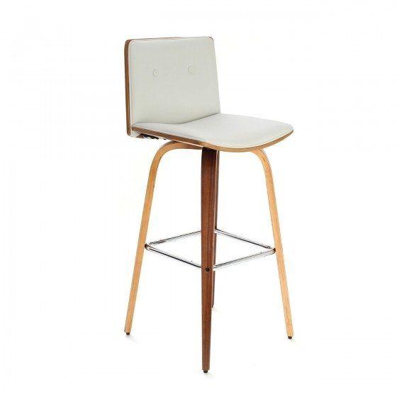 Walnut Veneer Rotating Padded Bar Chair