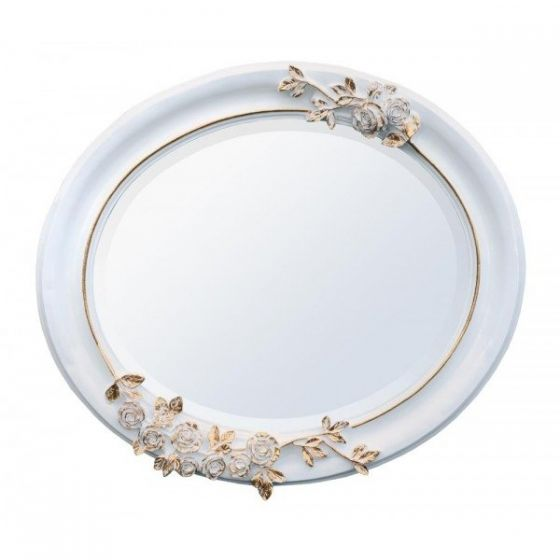 White and Gold Oval Mirror