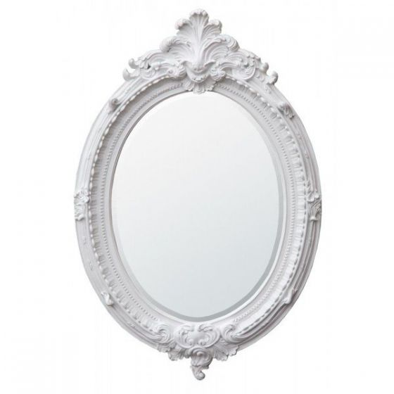 Clay Paint Rocaille Style Oval Mirror