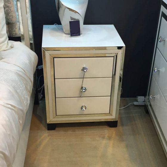 White Glass New York Bedside Cabinet
