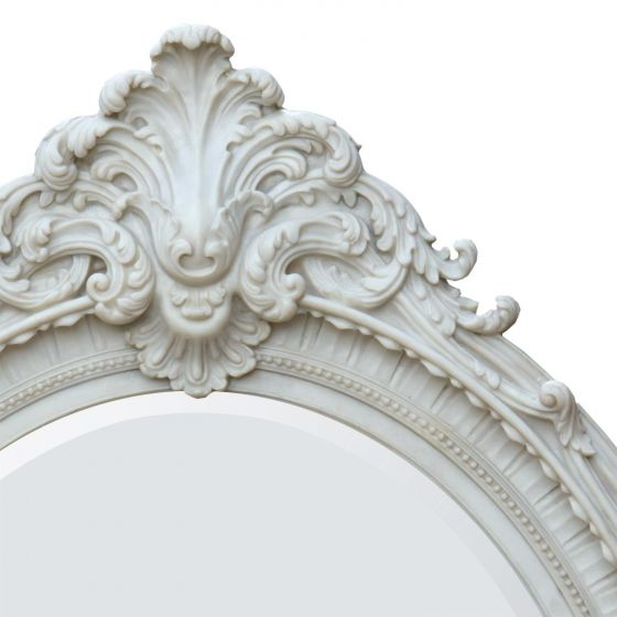 Rocaille Style Antique White Oval Bevelled Mirror
