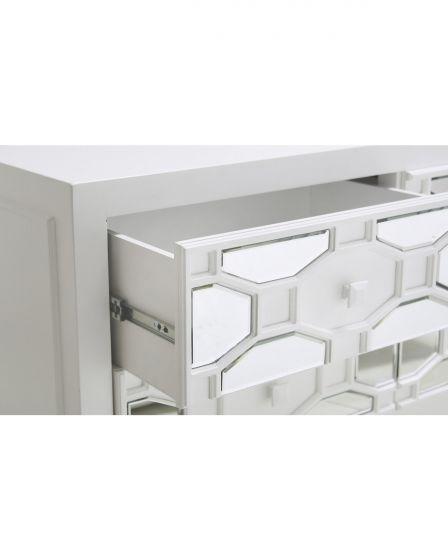 White Geometric Mirrored TV Unit
