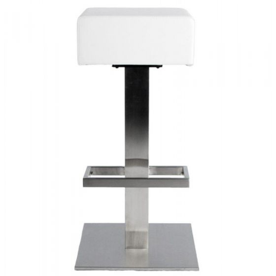 Square Padded Swivel Stool - White