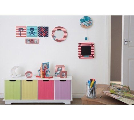 White Storage Unit With 4 Coloured Boxes