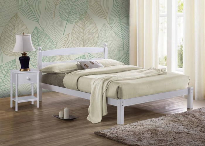 Scandinavian White Wood Single & Double Bed Frames