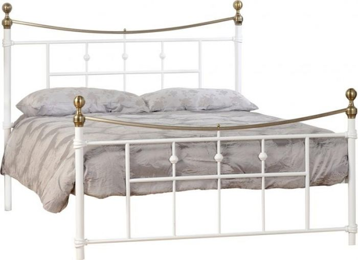 White and Antique Brass Bed Frame