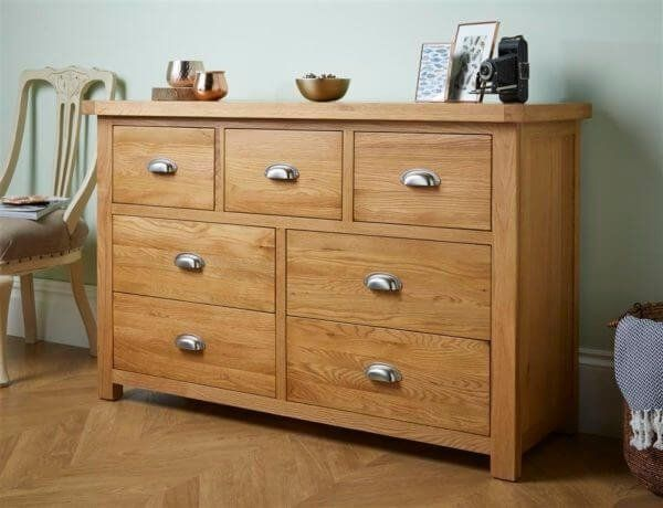 Woburn Oak 7 Drawer Wide Chest