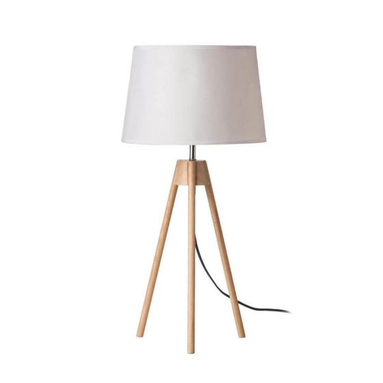 Natural Tripod Table Lamp - White Linen Shade