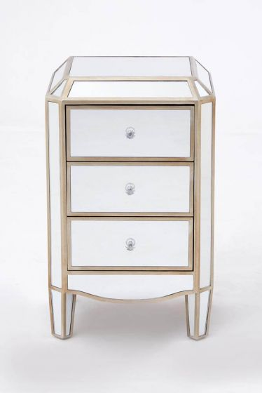 Mirrored French Champagne Side Chest