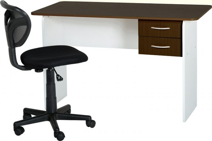 Wenge & White 2 Drawer Study Desk