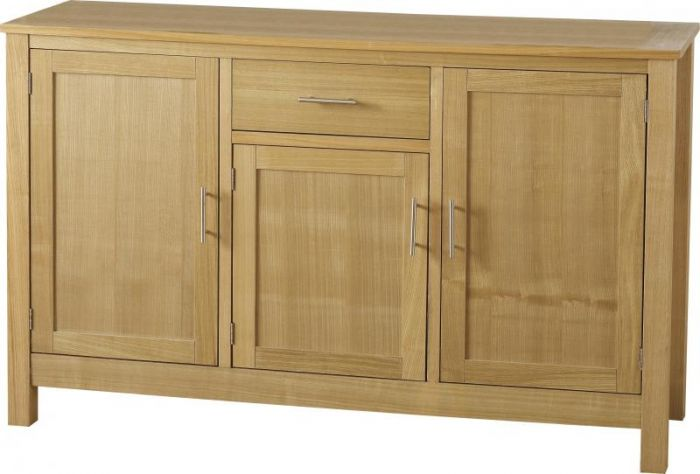 Oak Veneer 3 Door 1 Drawer Sideboard