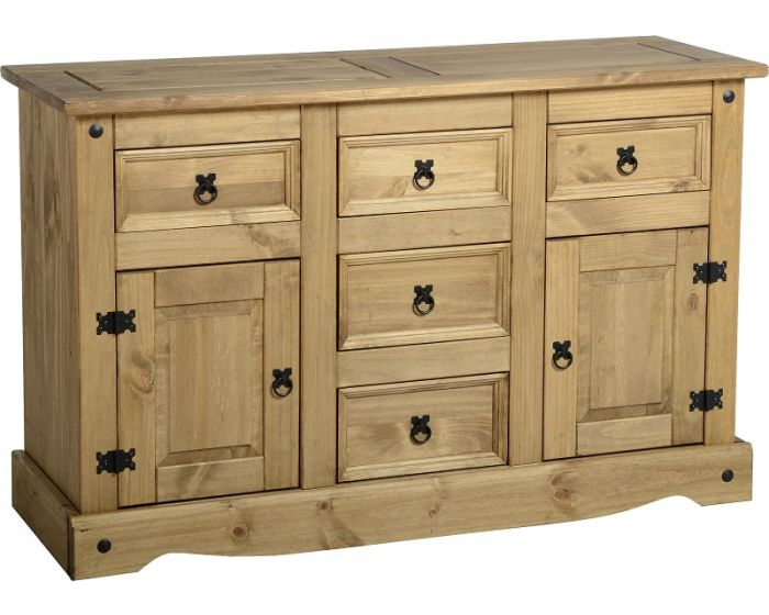 Corona Studded Pine 2 Door 5 Drawer Sideboard