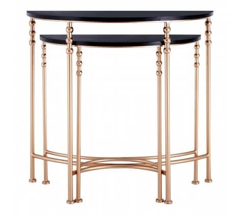 Alexa Half Moon Black And Rose Gold Console Table Set Of 2
