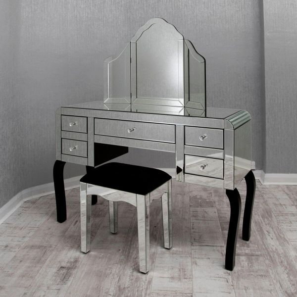 Clear Mirrored Dressing Table Set Zurleys, Dressing Table Set Mirrored