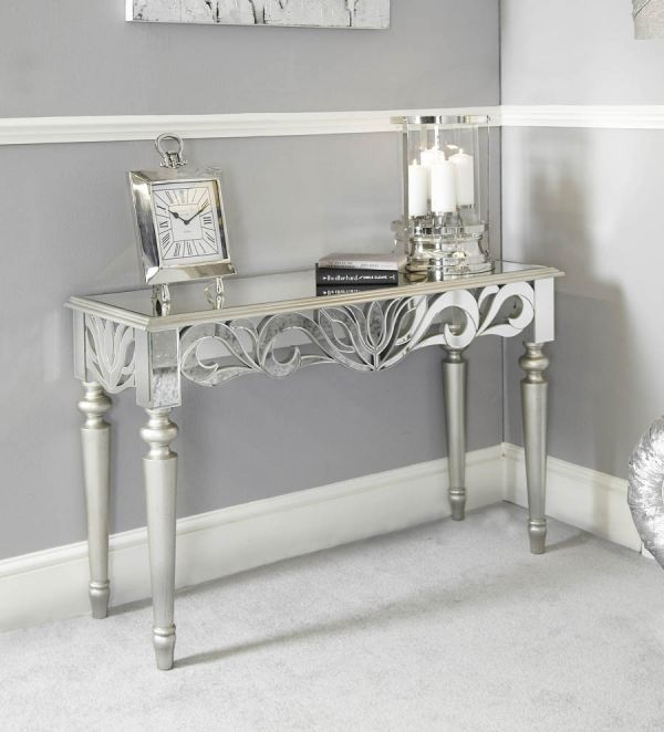 Greek Style Mirrored Console Table Silver Wood Trim Zurleys