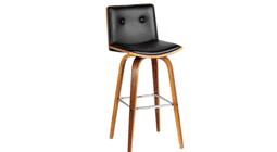 Black Leather and Walnut Bar Stool with 360 rotation