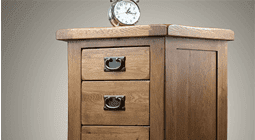 Modern Bedside Cabinet with metal handles and clock