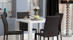 Modern White Dining Table With 4 Black Chairs